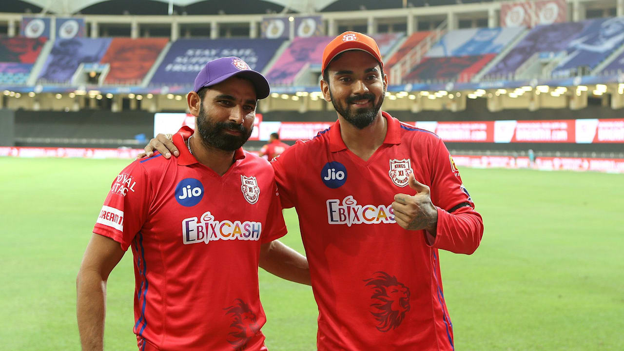 Kings XI Punjab captain Lokesh Rahul (right) and Mohammed Shami.