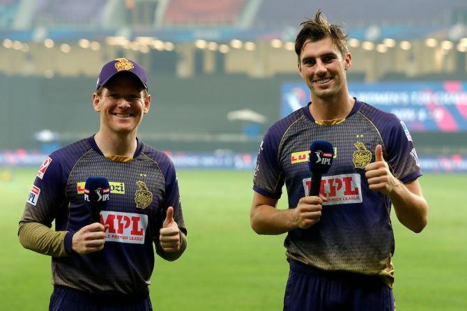 Kolkata Knight Riders captain Eoin Morgan (left) and Pat Cummins.