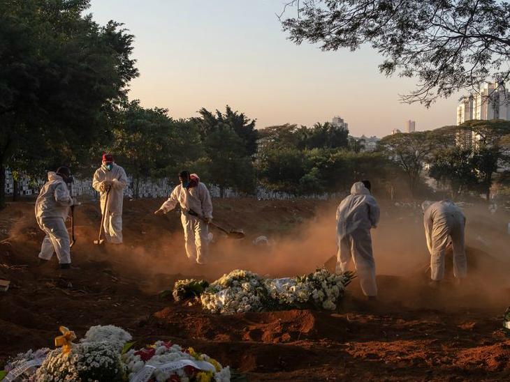 ब्राजील के साओ पाउलो में कब्रिस्तान की सफाई में जुटे कर्मचारी। देश में कोरोनावायरस से मरने वालों का आंकड़ा दो लाख के पार हो गया है। (फाइल फोटो)