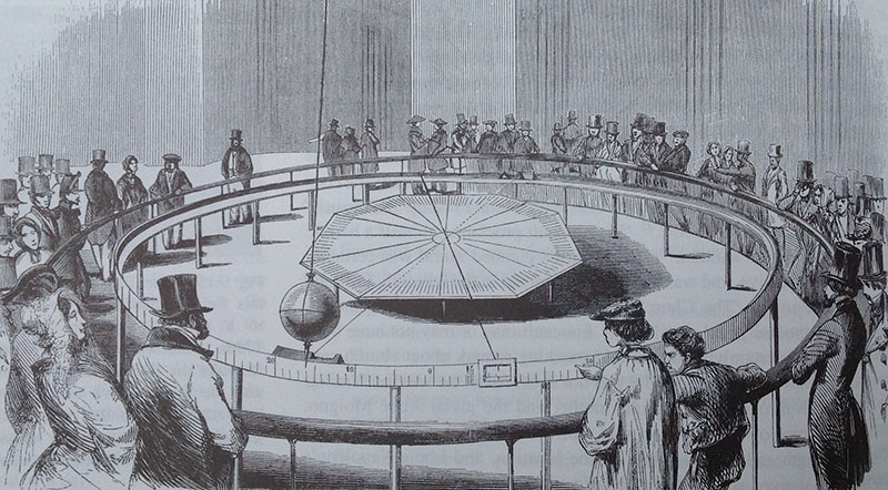 लियोन फौकॉल्ट के पेंडुलम मॉडल का स्केच।