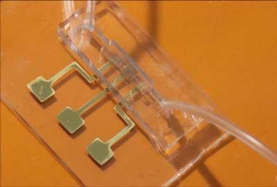 कोरोना टेस्ट चिप जिसे एरोसॉल जेट नैनोपार्टिकल 3डी प्रिंटिंग से बनाया गया है।
