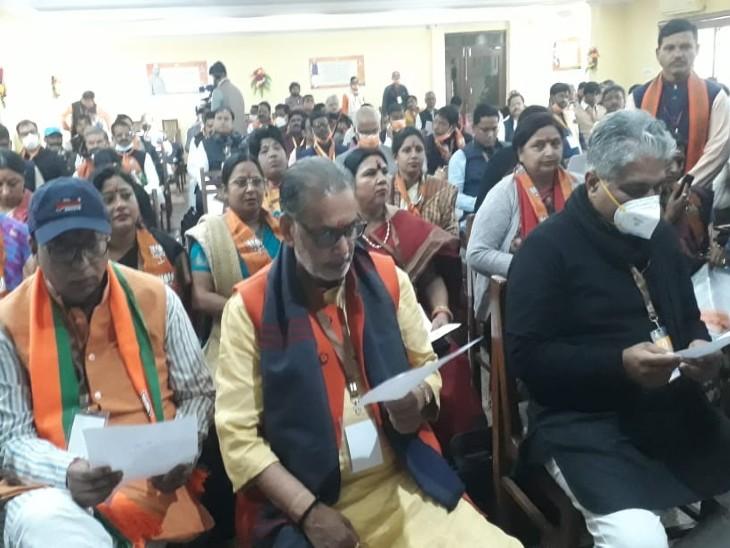 राजगीर में आयोजित शिविर में शामिल भाजपा के प्रदेश अध्यक्ष संजय जायसवाल, प्रदेश प्रभारी भूपेंद्र यादव और पूर्व केंद्रीय मंत्री राधामोहन सिंह।