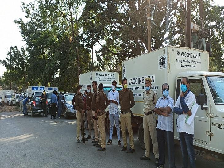 वैक्सीन को जिलों तक ले जाने के लिए विभिन्न जिलों की वैक्सीन वैन और कर्मचारी सुबह से ही राज्य डीपाे पहुंच गए हैं।