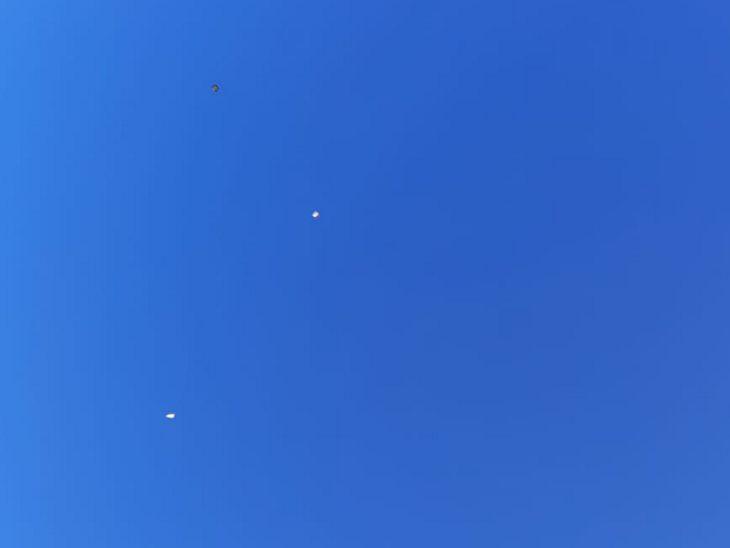 ठंड के कारण ज्यादा तो नहीं लेकिन सुबह से ही कुछ पतंगें आसमान में उड़ान भरने लगीं।