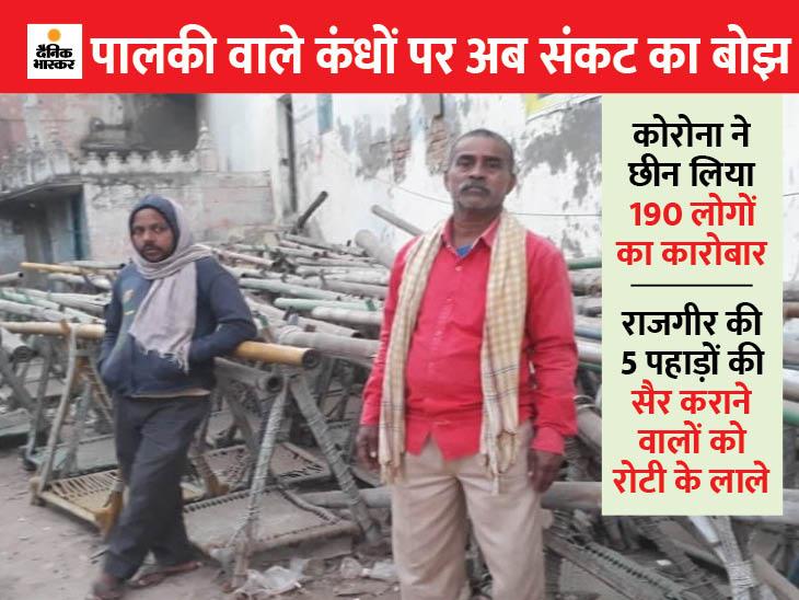 राजगीर की वादियों में पालकी पड़ी है, कंधे इंतजार कर रहे, मगर लोग नहीं आ रहे|बिहार,Bihar - Dainik Bhaskar