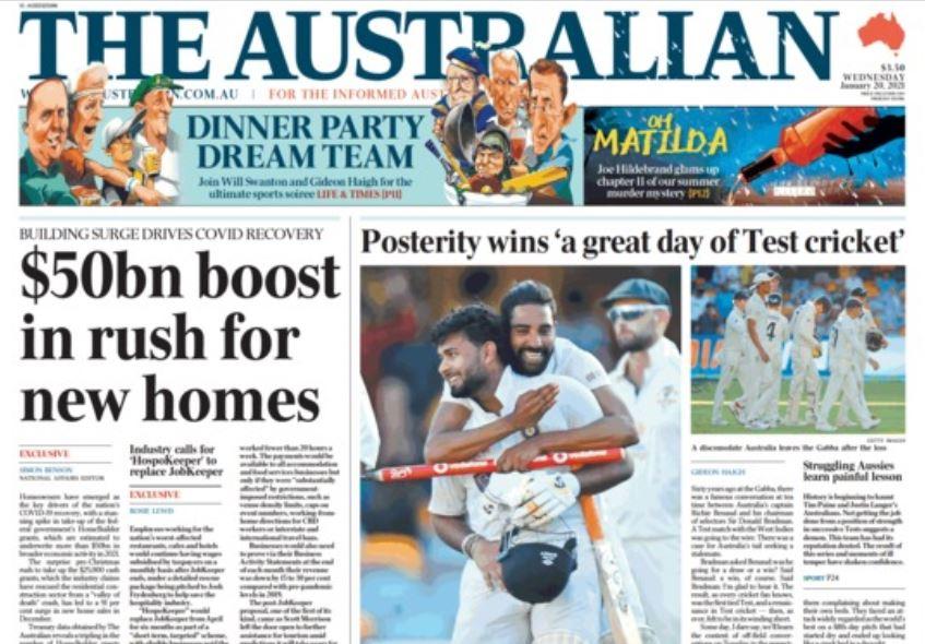 द ऑस्ट्रेलियन न्यूज पेपर ने लिखा- स्ट्रगल करती ऑस्ट्रेलियन टीम के लिए यह दर्दनाक सबक।