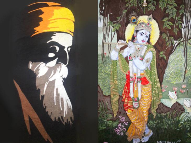 अरुण ने सुइंग मशीन से पहला पोर्ट्रेट (बाएं) गुरु नानक देव का बनाया था। भगवान कृष्ण का मास्टरपीस (दाएं) जिसके लिए अरुण ने 5 वर्ल्ड रिकॉर्ड बनाए हैं।