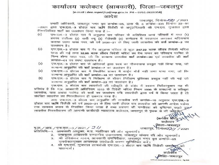 कलेक्टर कर्मवीर शर्मा ने बार लाइसेंस निलंबित करने का आदेश जारी किया