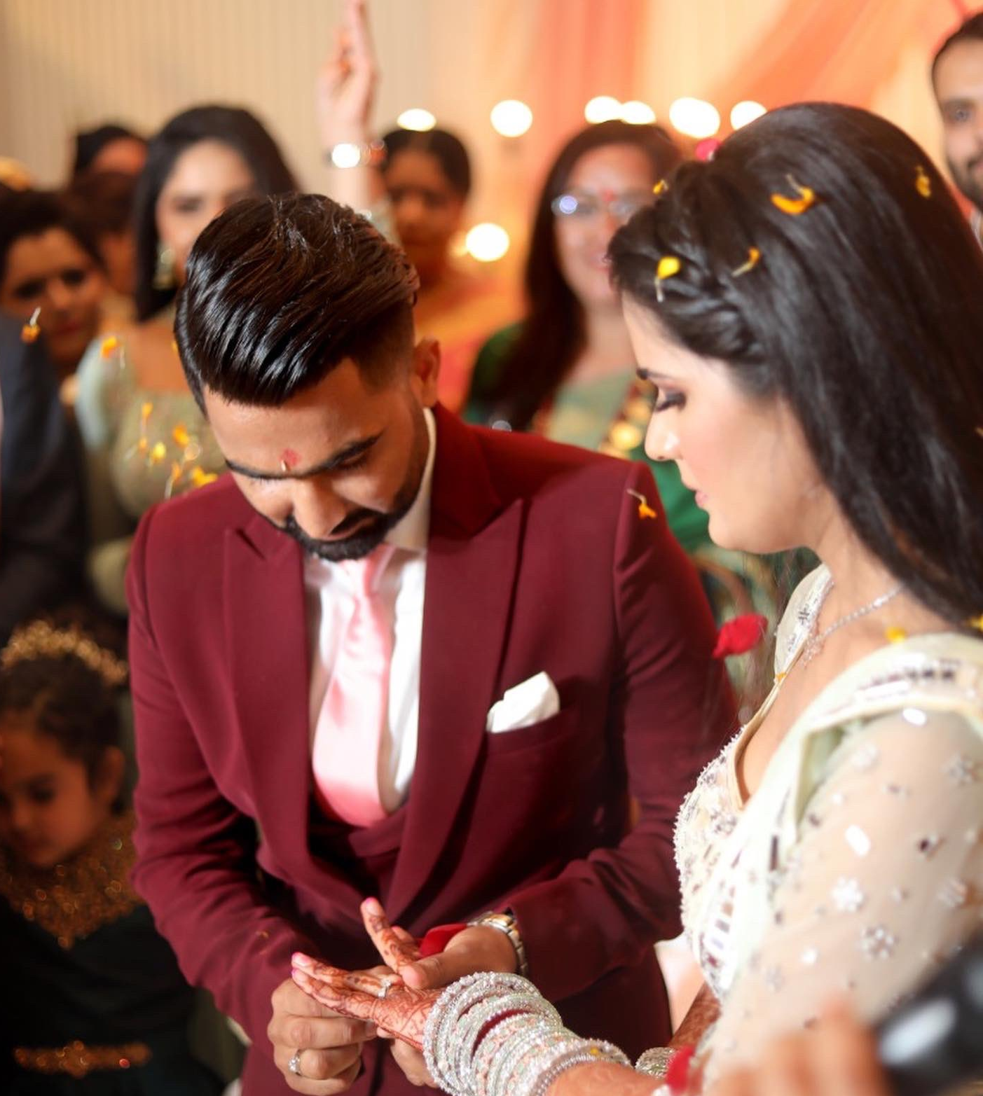 Rahul Tewatia and Riddhi Pannu during the engagement.