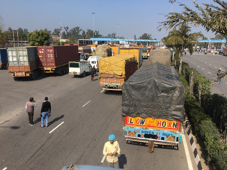 Vehicles stuck in a jam.