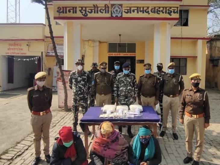 बहराइच में 50 करोड़ की चरस के साथ घुसपैठ कर रही तीन महिला तस्कर गिरफ्तार, हरिद्वार ले जा रही थीं खेप लखनऊ,Lucknow - Dainik Bhaskar