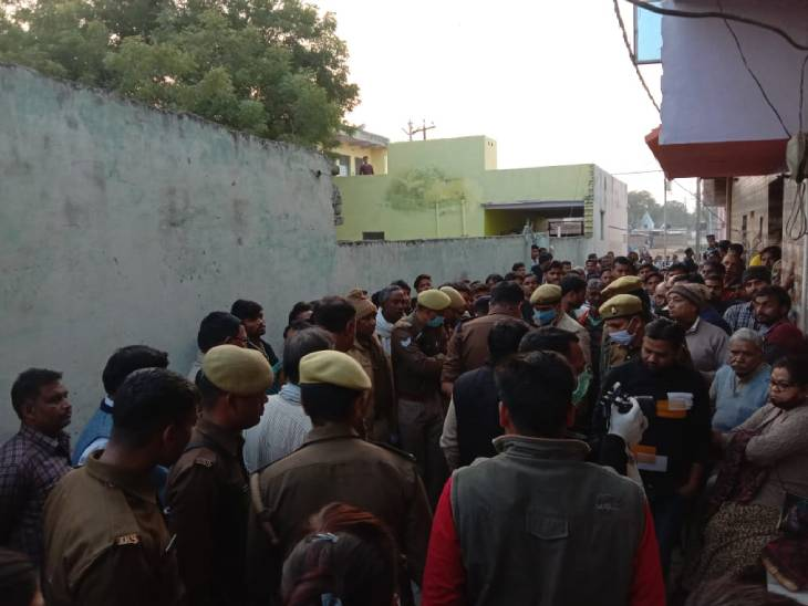 A crowd gathered on the spot after the incident.
