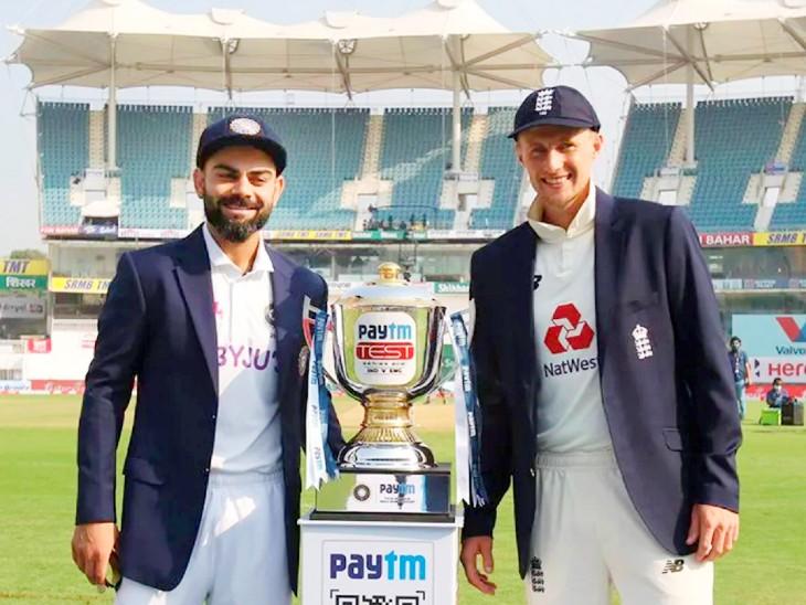 Indian team captain Virat Kohli and English captain Joe Root with Anthony de Mello Trophy.
