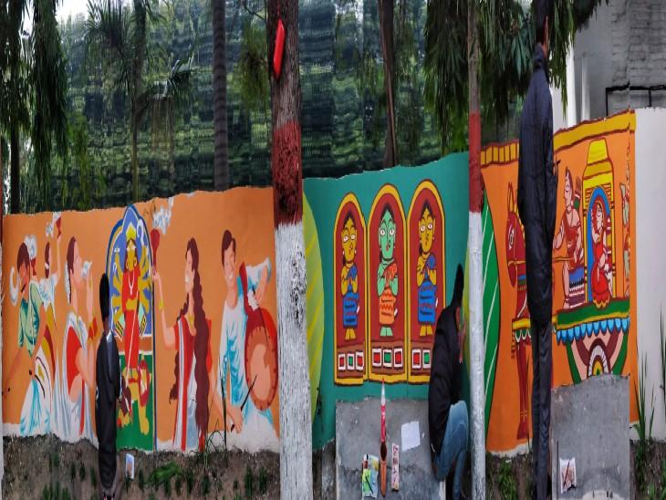 100 फुट के वॉल आर्ट में दिखेगा विक्टोरिया मेमोरियल और बंगाली कल्चर|चंडीगढ़,Chandigarh - Dainik Bhaskar