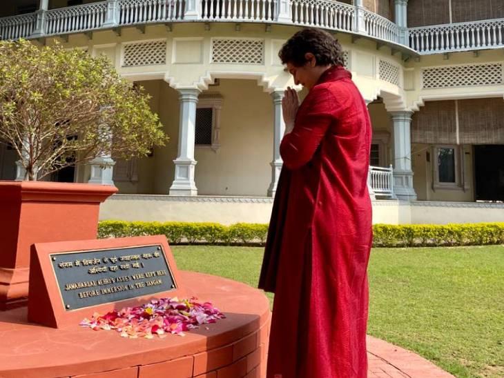 Priyanka Gandhi paid tribute to her ancestor former Prime Minister Jawaharlal Nehru at the memorial site.