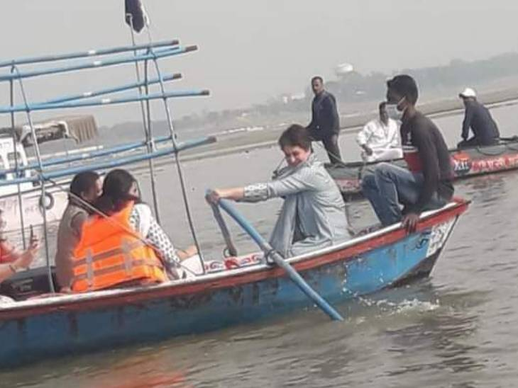 After bathing in the Sangam, Priyanka drove the rudder.