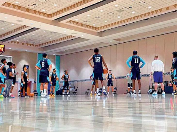 अमेरिका की बास्केटबॉल लीग एनबीए में टीमें कोरोना की वजह से ज्यादा ट्रैवल से बच रही हैं। वे बैक टू बैक मैच खेल रही हैं। - Dainik Bhaskar