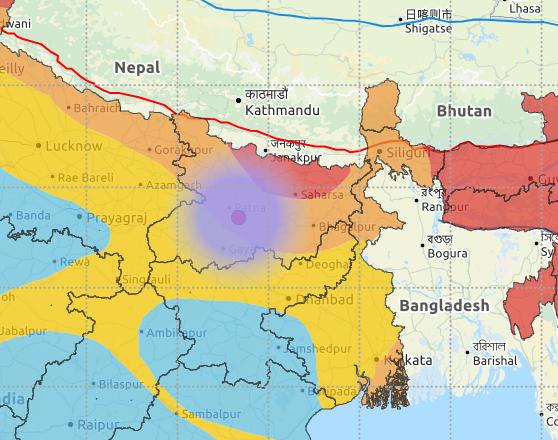नेशनल सेंटर पर फॉर सीस्मोलॉजी के मुताबिक भूकंप का केंद्र नालंदा से 20 किमी दूर था।