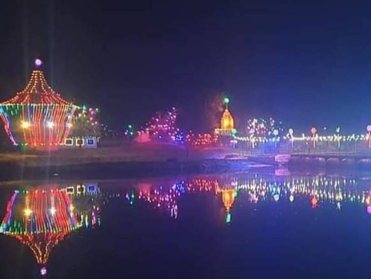 The Kumbh enclave was decorated with colorful lights.