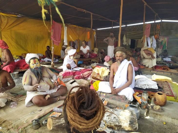 Sage saints performing Yagya Havan in their ashram on Sangam Beach.