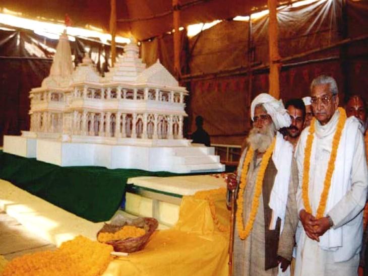 राम मंदिर मंदिर मॉडल के साथ तत्कालीन VHP प्रमुख अशोक सिंघल। (फाइल फोटो)