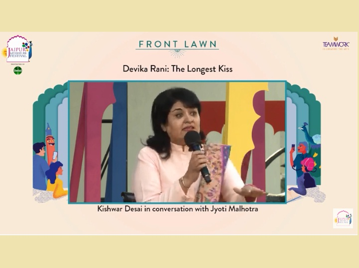 Kishwar Desai at the Jaipur Literature Festival session.
