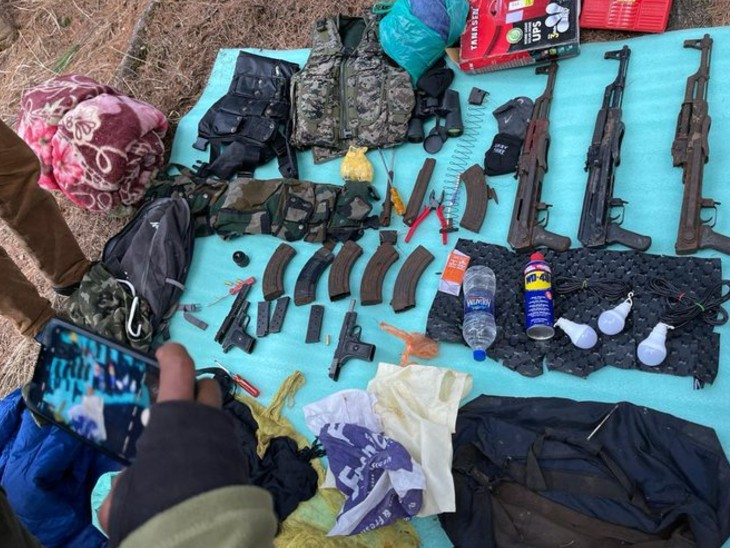 Police and army have recovered huge amount of arms from the forest of Anantnag by performing joint operations.