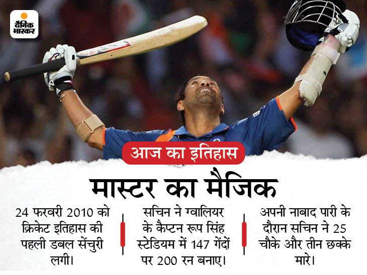 सचिन ने खत्म किया था 39 साल का इंतजार, वनडे क्रिकेट के इतिहास में पहली बार लगी थी डबल सेंचुरी देश,National - Dainik Bhaskar