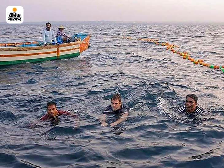 राहुल ने करीब 10 मिनट तक समुद्र में स्वीमिंग की।