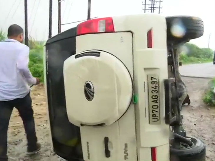 This photo is of 10 July last year.  Vikas Dubey was killed while trying to escape after overturning the car at Bhaunti in Kanpur.