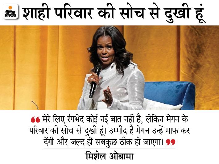 मिशेल ओबामा ने कहा कि रंगभेद का मामला कोई नई बात नहीं है, उन्हें मेगन का इंटरव्यू सुनकर कोई अचरज नहीं हुआ था। - Dainik Bhaskar