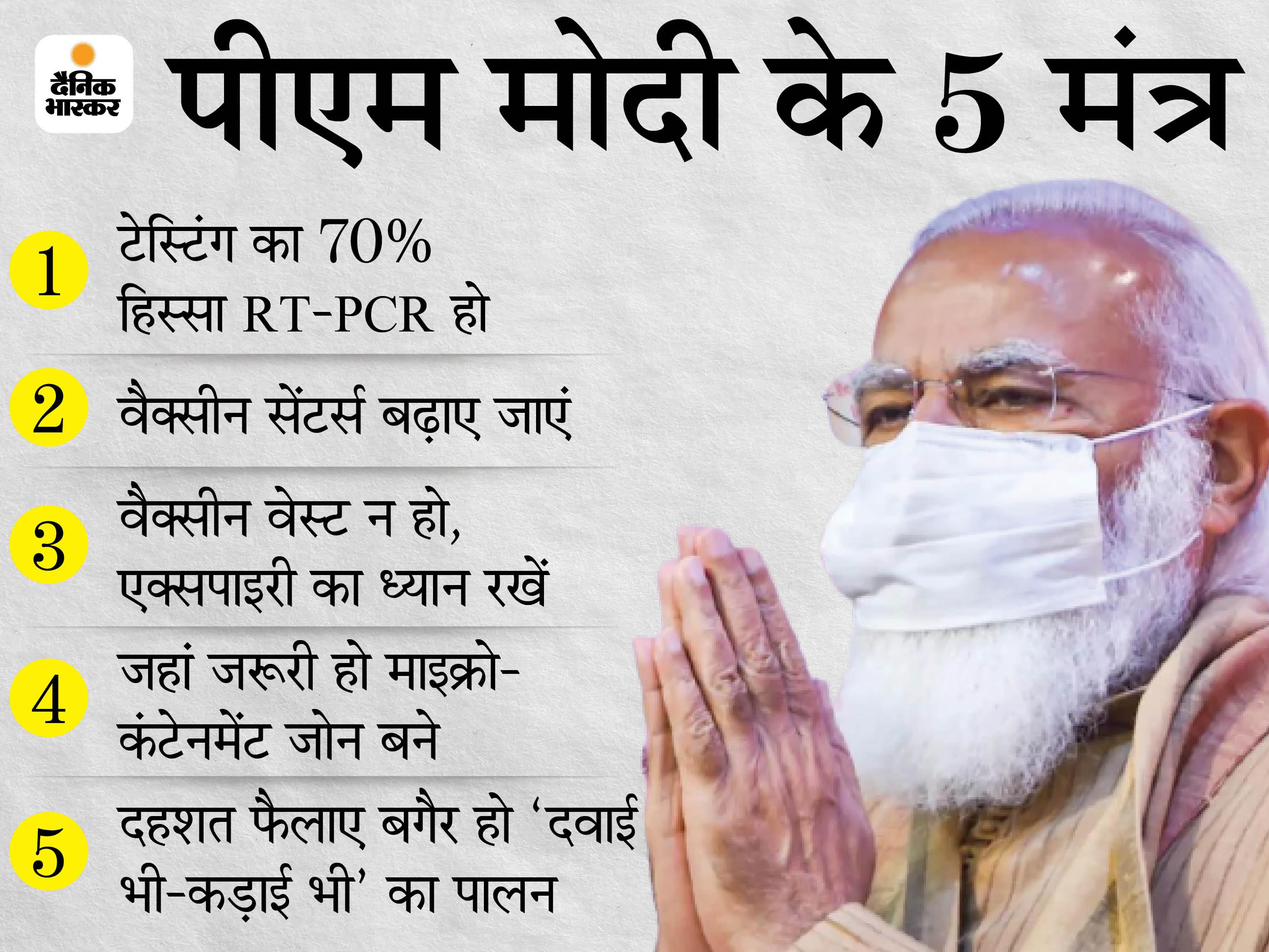 PM मोदी ने मुख्यमंत्रियों को दिया थ्री T का मंत्र, कहा- हमें टेस्टिंग, ट्रैकिंग और ट्रीटमेंट पर जोर देना होगा, गांवों को बचाना जरूरी|देश,National - Dainik Bhaskar
