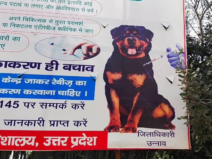 कुत्ते की फोटो के साथ जिलाधिकारी उन्नाव लिखा गया।