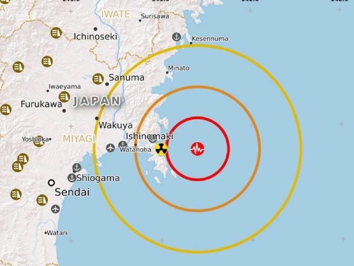 जापान के उत्तर-पूर्वी तट के पास भूकंप के केंद्र को दिखाता हुआ मैप।