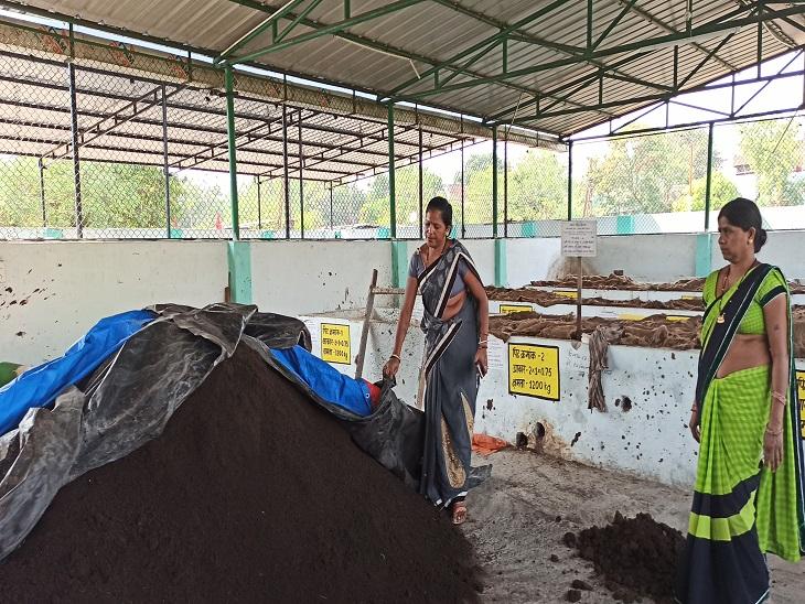 गोबर से बना कम्पाेस्ट दिखाती हुई स्व-सहायता समूह की महिलाएं। इसको तैयार होने में 45 दिन का समय लगता है।