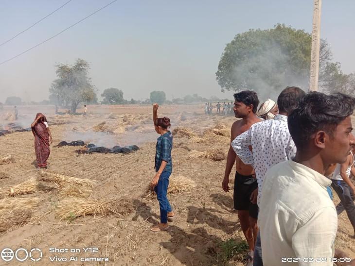 आग से जलकर नष्ट हुई गेहूं की फसल। - Dainik Bhaskar