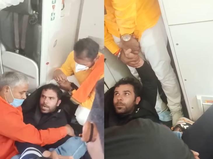दिल्ली से वाराणसी आ रहे विमान का इमरजेंसी गेट खोलने लगा पैसेंजर, क्रू मेंबर्स ने 40 मिनट तक पकड़कर रखा|वाराणसी,Varanasi - Dainik Bhaskar