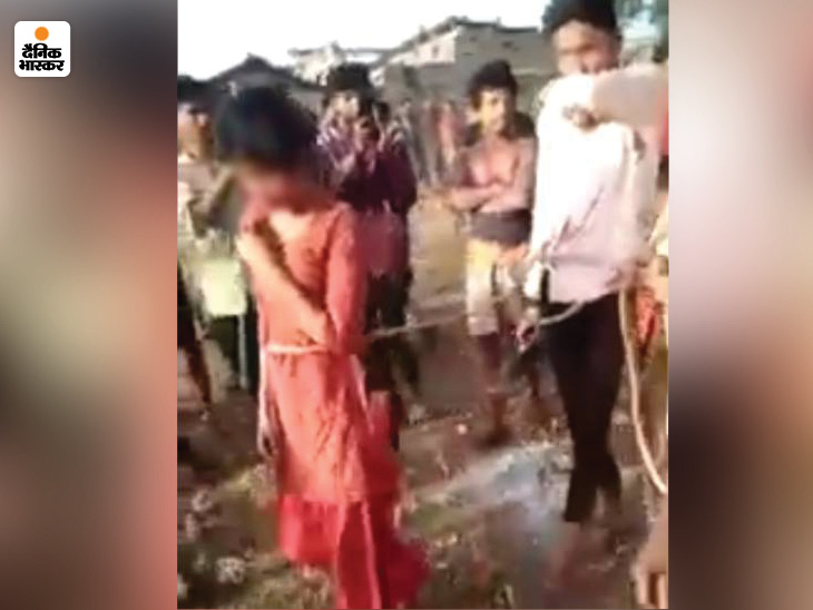 The rape victim was beaten up with the accused, tied them both with a rope  and took out a procession in the village, also raised slogans of Bharat  Mata ki Jai |
