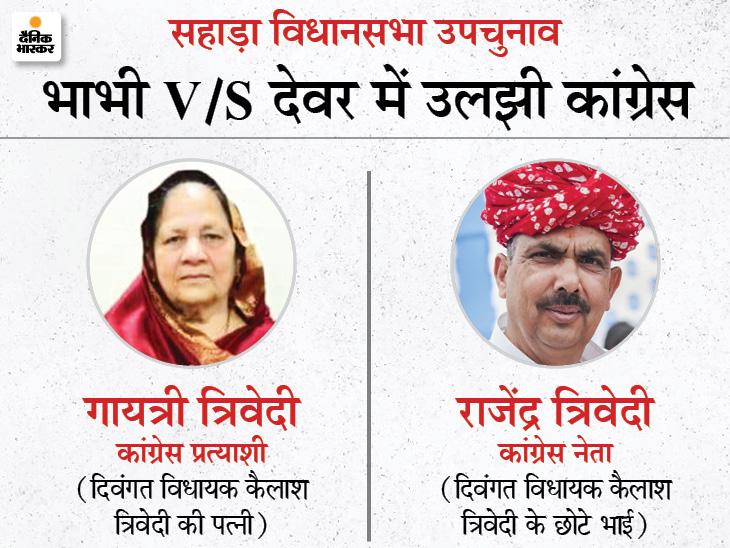 कांग्रेस प्रत्याशी गायत्री देवी के विरोध में उतरे राजेंद्र त्रिवेदी; समर्थकों ने जयपुर आकर किया प्रदर्शन; त्रिवेदी परिवार की फूट से कांग्रेस का नुकसान|जयपुर,Jaipur - Dainik Bhaskar