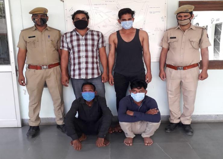 जयपुर में सांगानेर सदर थाना पुलिस की गिरफ्त में अपहरण व लूट की वारदात में शामिल बदमाश - Dainik Bhaskar