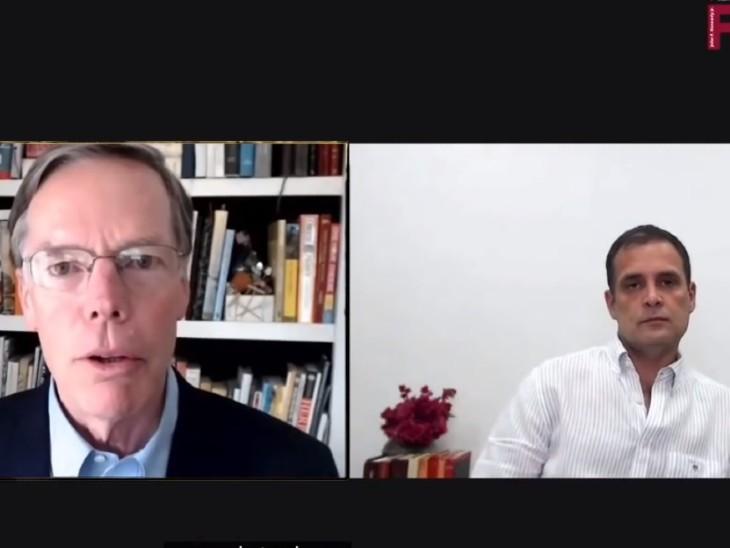 हार्वर्ड के प्रोफेसर से राहुल गांधी की बातचीत:कांग्रेस लीडर बोले- चीन हमें कमजोर समझता है, भारत में सरकार की ताकत एक जगह सिमटी