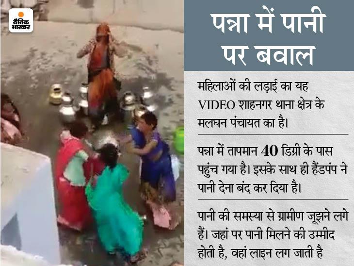 गर्मी के साथ पानी की जंग शुरू; लाइन में बर्तन रखने को लेकर हाथापाई, एक-दूसरे के सिर पर बर्तन बरसाने लगीं महिलाएं मध्य प्रदेश,Madhya Pradesh - Dainik Bhaskar