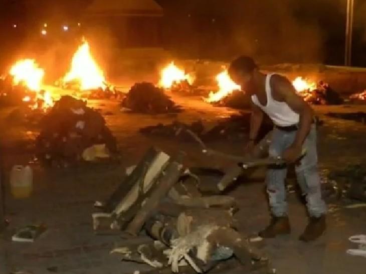 एक दिन में 42 शवों का अंतिम संस्कार, इनमें 22 शव एक साथ जले; 6 को एक के ऊपर एक रखकर जलाया गया|महाराष्ट्र,Maharashtra - Dainik Bhaskar