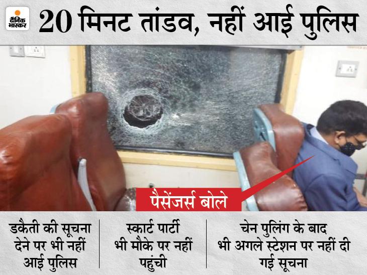 डकैतों ने AC कोच पर पथराव कर कांच भी तोड़ दिया। - Dainik Bhaskar