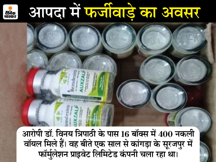 इंदौर का डॉक्टर हिमाचल में बना रहा था नकलीइंजेक्शन, 16 बॉक्स में 400 वाॅयल के साथ पकड़ाया|इंदौर,Indore - Dainik Bhaskar