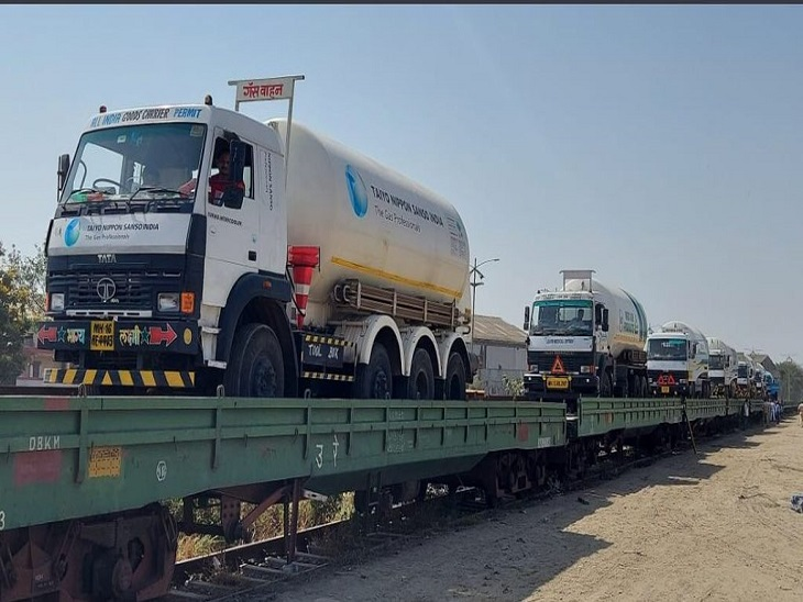 रायपुर आई ऑक्सीजन एक्सप्रेस, खाली टैंकर्स को विशाखापट्टनम में भरकर फिर इसी रास्ते से मुंबई पहुंचेगी ट्रेन रायपुर,Raipur - Dainik Bhaskar
