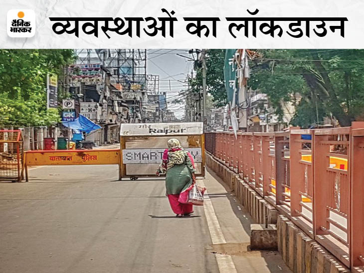 थोक बाजार बंद है, इसलिए छोटी दुकानों में स्टॉक खत्म; संक्रमित होने के डर और डिलीवरी के खर्च के कारण घर पर सामान नहीं पहुंचा रहे दुकानदार|रायपुर,Raipur - Dainik Bhaskar