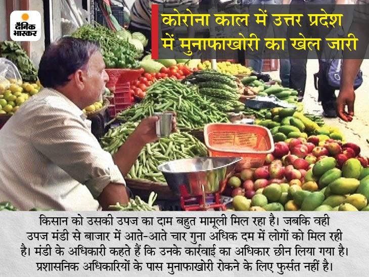 किसानों से मिट्टी के भाव खरीदकर कई गुना अधिक दामों में बेच रहे आढ़ती और फुटकर दुकानदार लखनऊ,Lucknow - Dainik Bhaskar
