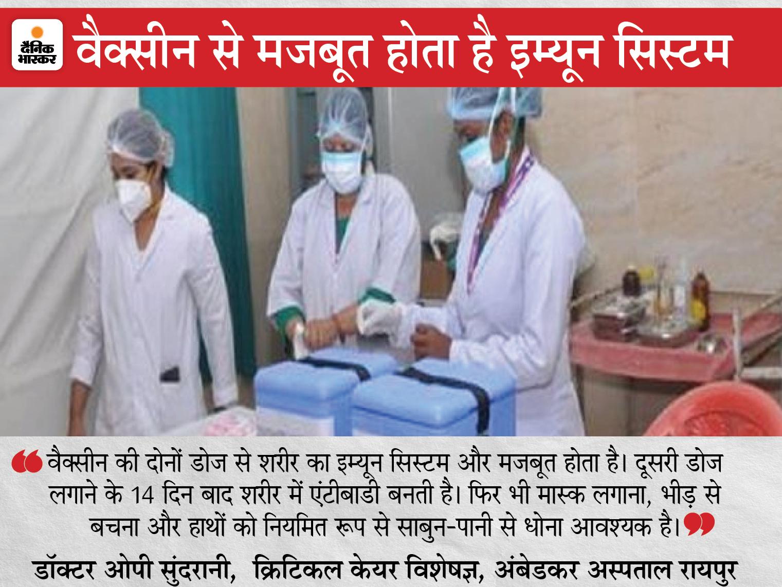 टीके की दूसरी डोज से जुड़ी अफवाहों के खिलाफ सामने आए विशेषज्ञ, सरकार और यूनिसेफ के विशेषज्ञों ने कहा- संक्रमित होने की बात गलत रायपुर,Raipur - Dainik Bhaskar