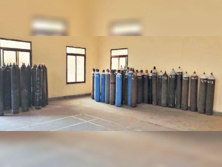 नीमराना. रीको कार्यालय में रखे जब्त मेडिकल ऑक्सीजन सिलेंडर। - Dainik Bhaskar